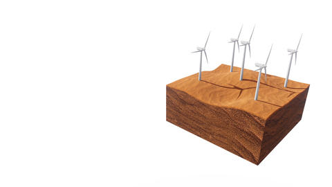 Wind turbines in desert on white background with copy space Animation
