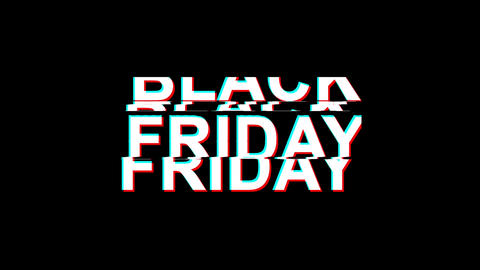 black friday Glitch Effect Text Digital TV Distortion 4K Loop Animation Live Action