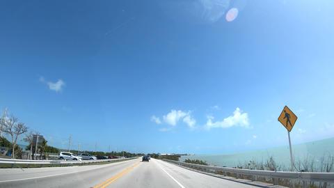 Florida Keys, USA - february 21, 2019: Driving northbound on Overseas Highway Footage