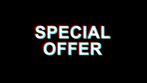 Special Offer Glitch Effect Text Digital TV Distortion 4K Loop Animation Footage