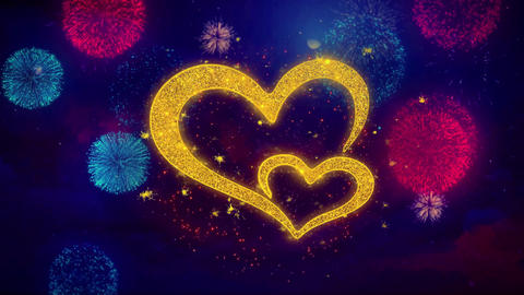 Valentine's day love hearts Greeting Text Sparkle Particles on Colored Fireworks Footage
