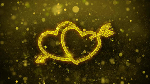 Valentine's day love heart Greetings Abstract Blinking Golden Particle Looped Live Action