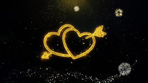 Valentine's day love heart Written Gold Particles Exploding Fireworks Display Footage