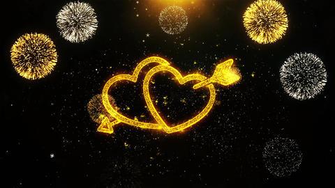 Valentine's day love heart card, Invitation, Celebration Firework Looped Footage