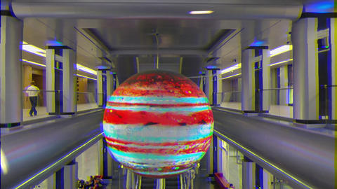 Glitch effect. Hall. Social and cultural center Galaxy, Sochi, Russia Footage