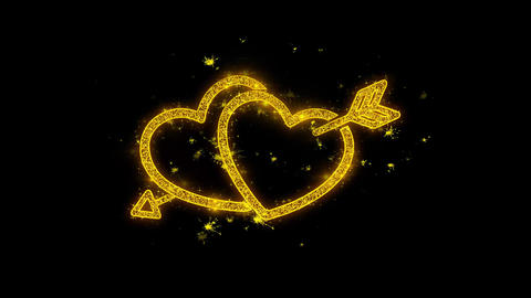Valentine's day love heart Written with Golden Particles Sparks Fireworks Footage