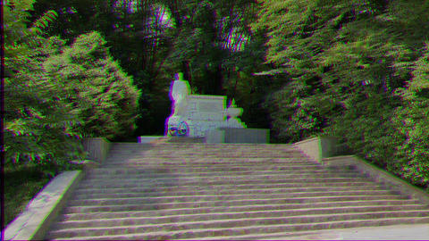 Glitch effect. Monument to the heroes of the Great Patriotic War in somshitovoy yew the grove. Live Action