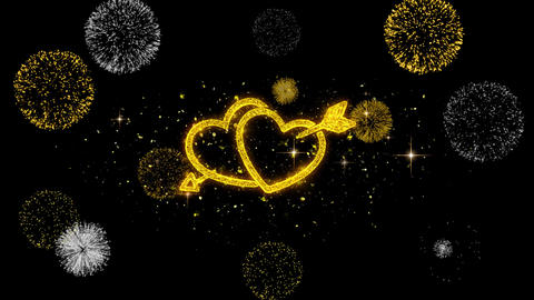 Valentine's day love heart Golden Blinking Particles with Golden Fireworks Footage