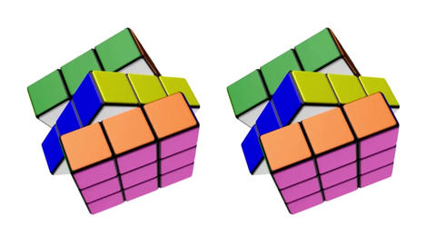 The transformation of the Rubik's cube with animation and rotation. Animated Rubik's cube. Rubik Animation