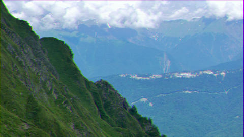 Glitch effect. Biathlon komples Laura. Ridge Aibga. Sochi, Russia GIF