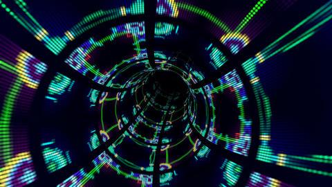 万華鏡のトンネル 動画素材, ムービー映像素材