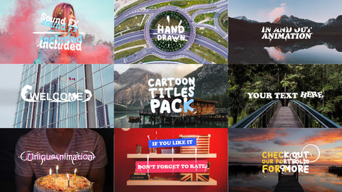 Cartoon Titles Pack Motion Graphics Template