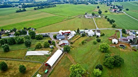 Aerial View of Amish Farms Photo