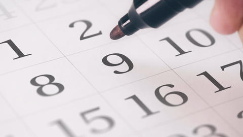 Marked the nineth 9 day of a month in the calendar... Stock Video Footage