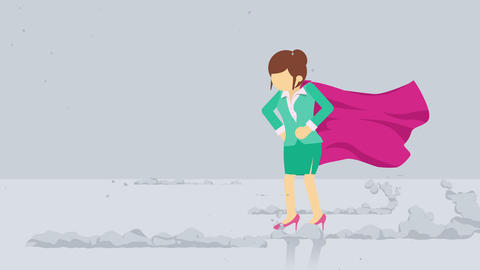 Superhero standing near a cloud of dust. Business woman symbol. Leadership and Challenge concept. Animation
