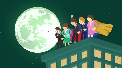Superheroes in moonlight city. Standing over skyscraper. Business team symbol. Teamwork and Animation