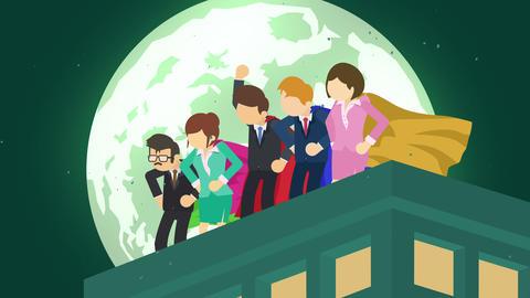 Superheroes in moonlight city. Standing over skyscraper.... Stock Video Footage