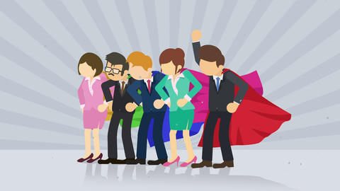 Superheroes standing on sunburst background. Sun beam ray background. Business team concept. Comic Animation
