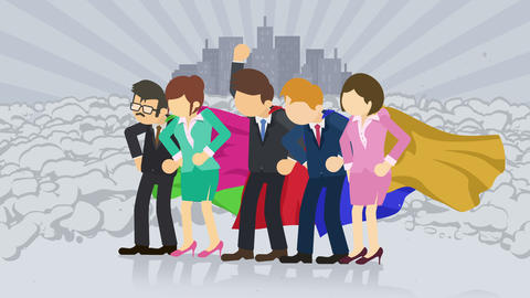 Superheroes standing on city background. Near a cloud of dust. Business team symbol. Teamwork and Animation