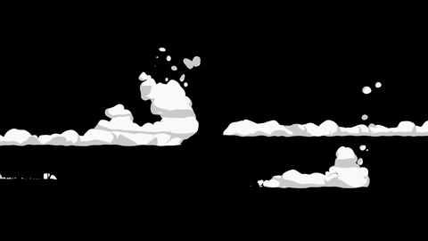 Smoke animation from fast movement. Animation element for game. Cartoon steam clouds. Loop black Animation