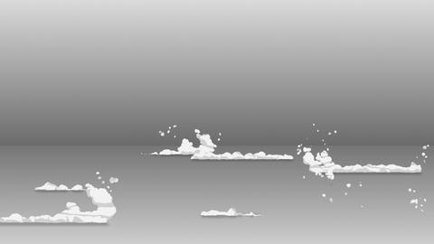 Smoke animation from fast movement. Animation element for game. Cartoon steam clouds. Loop gray Animation