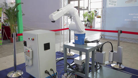 XI'AN - AUG 29:Robot Arm Shown at Expo, Xi'an city, Shaanxi province, china Footage