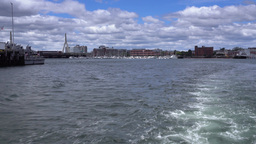 View of Boston Harbor from Rear of Tourboat Footage