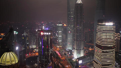 SHANGHAI - SEP 06, 2013:Traffic and cityscape of Shanghai at night , Shanghai Footage