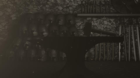 Blacksmith Workshop of Medieval Weapons Footage