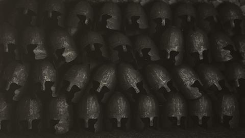 A Pile of Medieval Helmets Footage