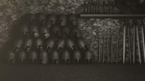 Medieval Armory with Helmets Swords Axes and Shields Archivo