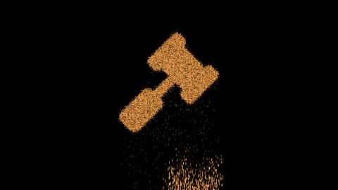 Symbol gavel appears from crumbling sand. Then crumbles down. Alpha channel Premultiplied - Matted Animation