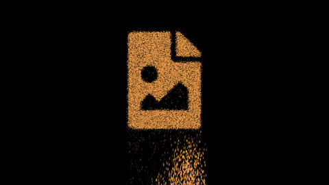 Symbol file image appears from crumbling sand. Then crumbles down. Alpha channel Premultiplied - Animation