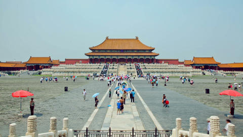 Main square of Forbidden city Beijing capital of China. Emperor palace Live Action