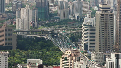 busy traffic over overpass in modern city , Shanghai, China Live影片