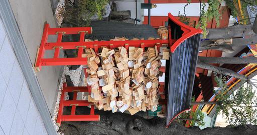 Votive tablets at Kanda myojin shrine in Tokyo vertical shot Footage