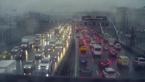 Rain in Moscow. Traffic Footage