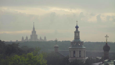 Rain in Moscow. View to church and university Footage