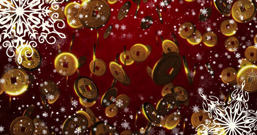 Christmas seamless loopable background with, snowflakes. Top view copy space Animation