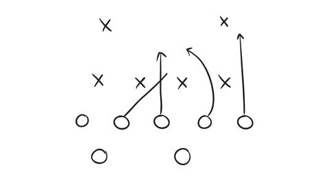 American Football Game Plan Drawing 2D Animation Stock Video Footage