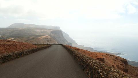 Driving near Mirador del Rio on the Lanzarote island, Canary Islands. Spain Footage