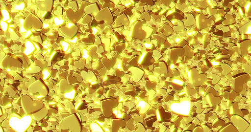 Beautiful golden heart background. 3D rendering Animation