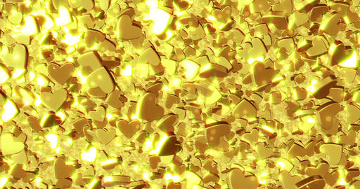 Beautiful golden heart background. 3D rendering Stock Video Footage