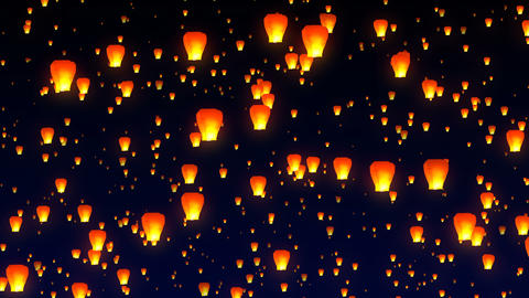 Flying sky lanterns in the night sky Animation
