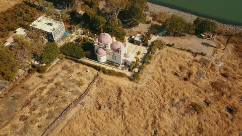 Orthodox Church of the 12 apostles. Sea of Galilee. Capernaum. Aerial view Footage