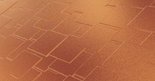 Abstract geometric rose golden backgroundfoil tiles texture seamless loop background 3D rendering Animation