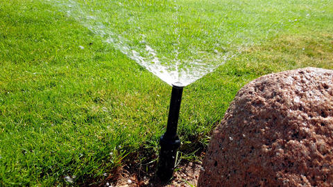 Closeup 4k footage of automatic water sprinkler watering green grass lawn at Footage