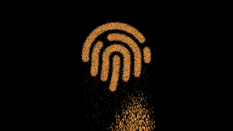 Symbol fingerprint appears from crumbling sand. Then crumbles down. Alpha channel Premultiplied - Animation