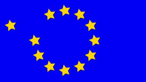 European Union EU flag, 12 stars symbol icon in motion CG動画素材