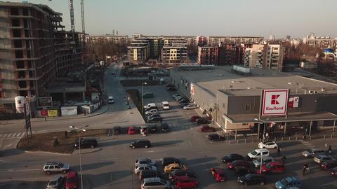 Parking lot of Kaufland supermarket - aerial uhd footage Archivo
